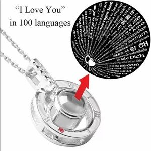 I love You in 100 Languages Projection Necklace